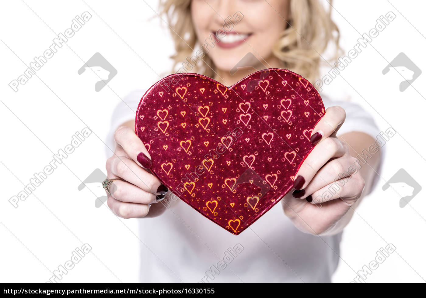 cropped, picture, of, woman, showing, gift - 16330155