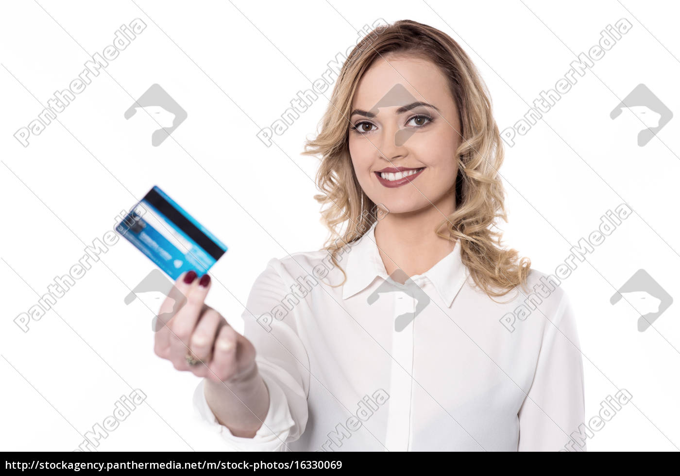 pretty, woman, holding, her, card - 16330069
