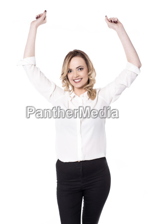 young, woman, posing, arms, raised, over - 16330089