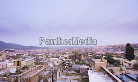 morocco fes view over medina from