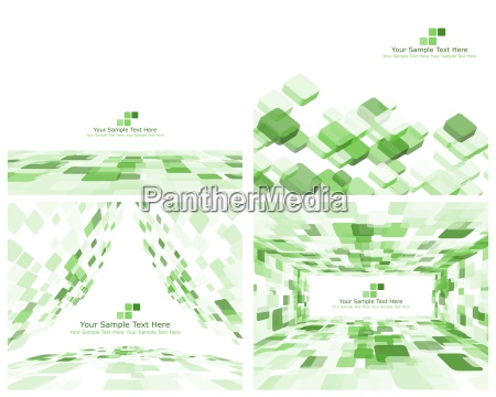 set of 4 checkered green background
