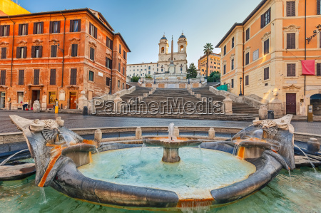 spanish steps at morning rome