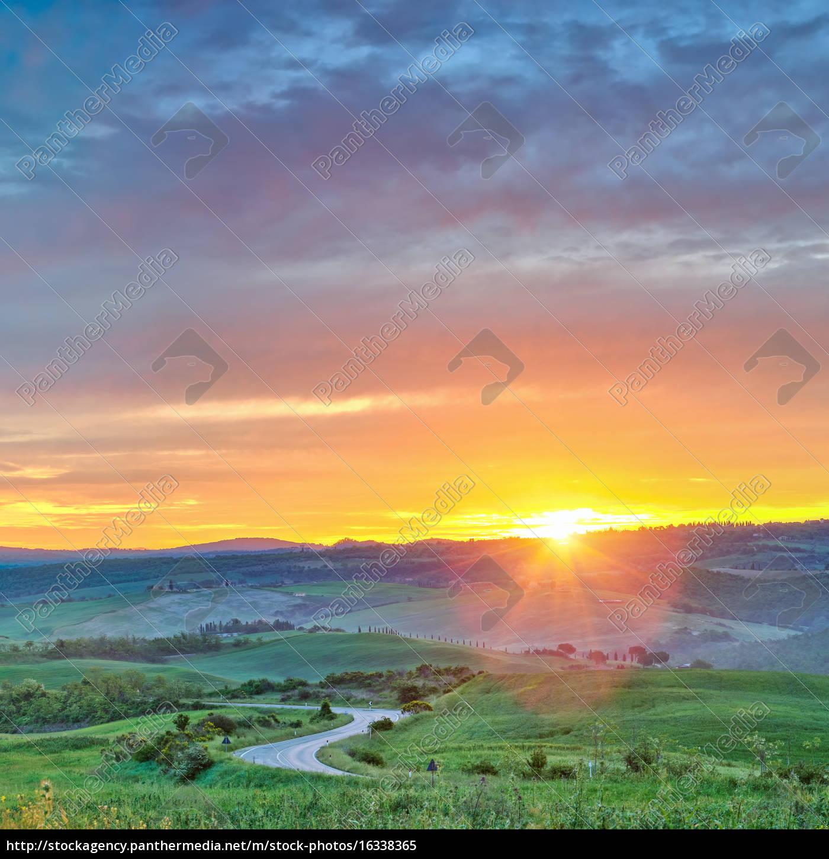 colorful, tuscany, sunrise - 16338365