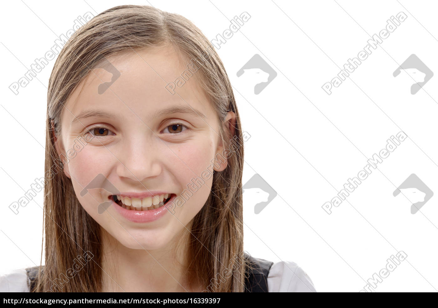 portrait, of, preteen, girl, isolated, on - 16339397