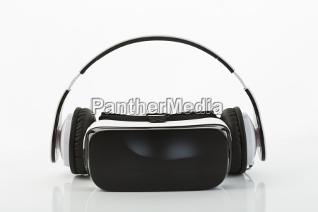 virtual reality glasses and headphones