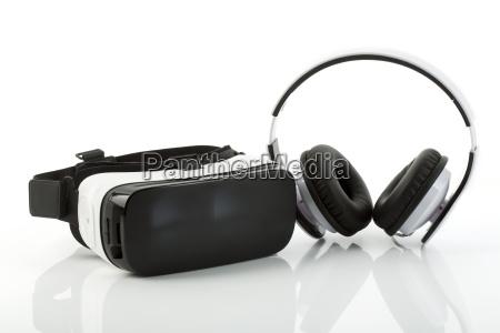 virtual reality glasses and headphones