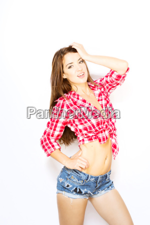 beautiful, woman, posing, in, tied, shirt - 16340197