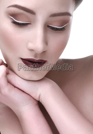 contrast makeup beautiful woman hand shoulder