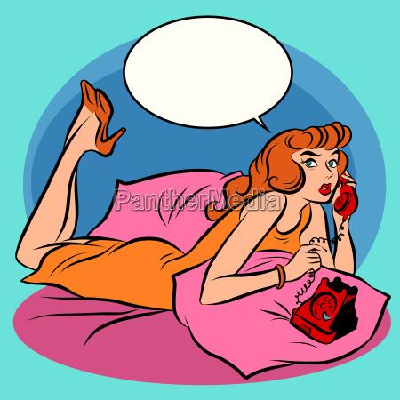 retro girl talking on phone