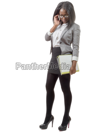 african, american, business, woman, smiling, on - 16345171