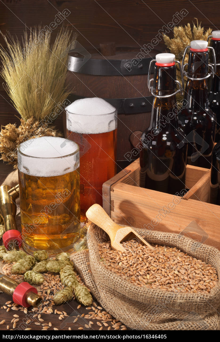 beer, carrier, with, beer, glasses - 16346405