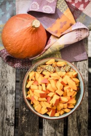 bowl of chunks of hokkaido pumpkin