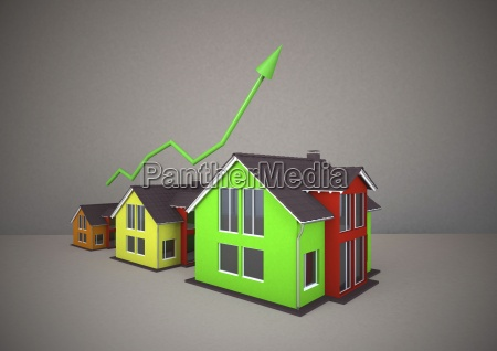 3d rendering of coloured homes with