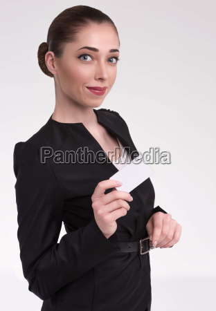 attractive woman with a card in