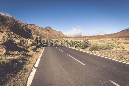 lonely desert road landscape in volcan