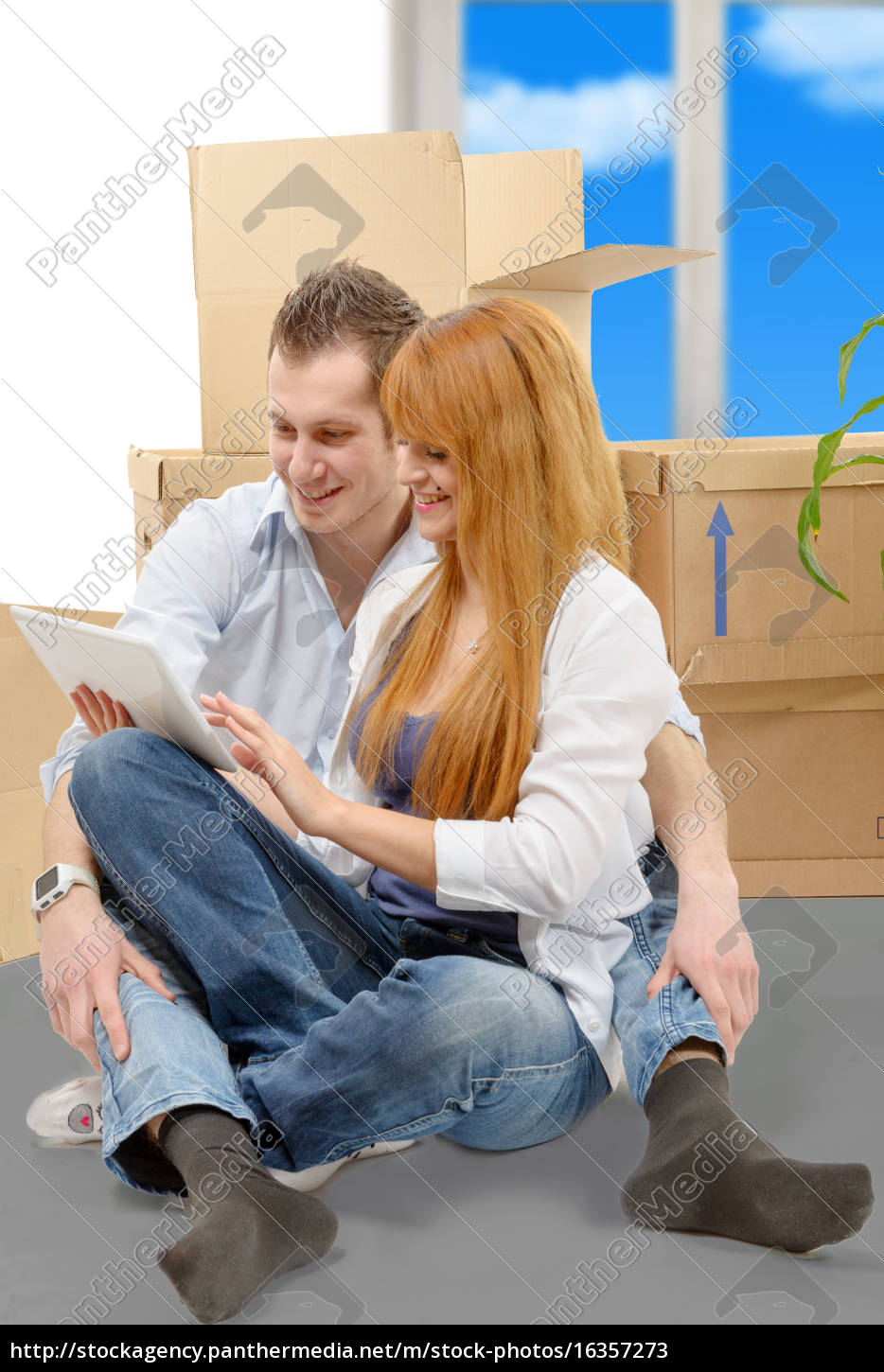 couple, arranging, new, apartment, with, digital - 16357273