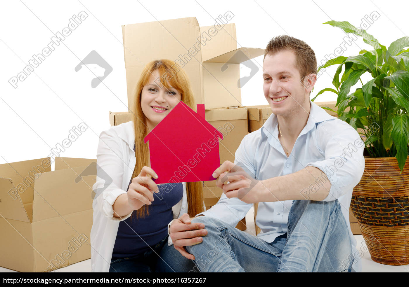 smiling, young, couple, sitting, after, moving - 16357267