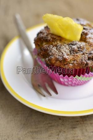 banana crumb muffin with fresh pineapple
