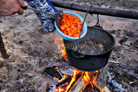 outdoor cooking making food on a