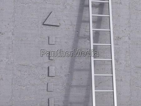 3d rendering ladder leaning against concrete