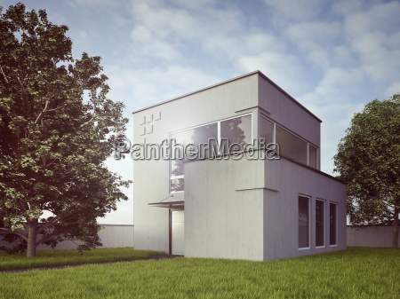 view to modern detached one family