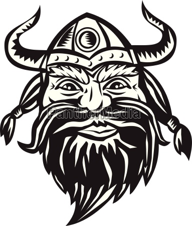 viking warrior head angry black and