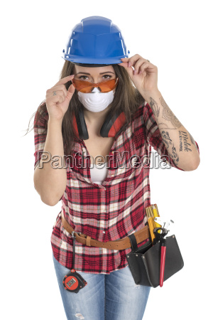 female craftsman with protective mask and