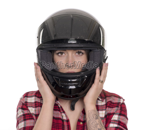 young woman with helmet