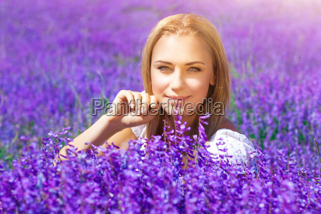 beautiful woman in lavender field