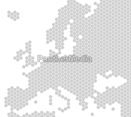 map of europe from light grey