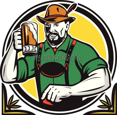 oktoberfest german beer drinker circle retro