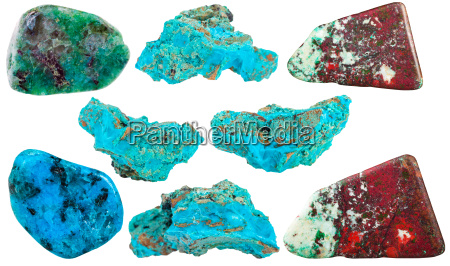 set of chrysocolla mineral stones and