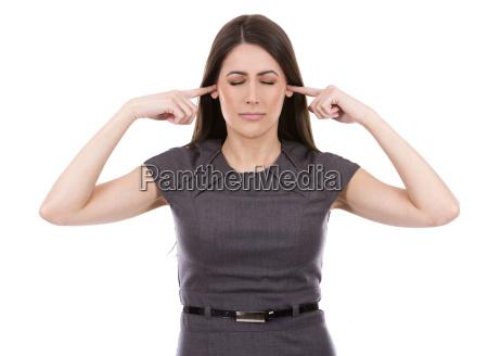 business woman not listening