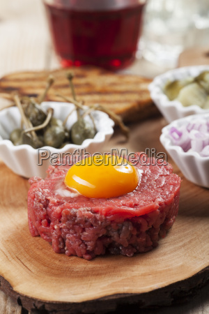 steak tartar with an egg
