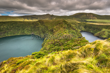 azores landscape with lake in flores