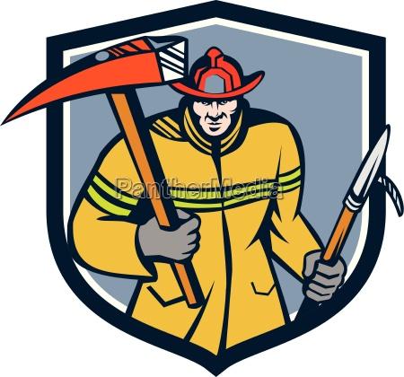 fireman firefighter fire axe hook crest