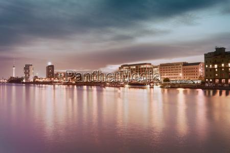 east berlin skyline in the evening