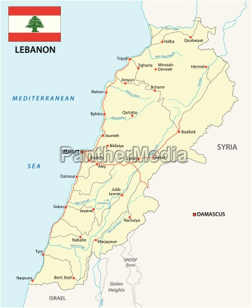 lebanon road map with flag