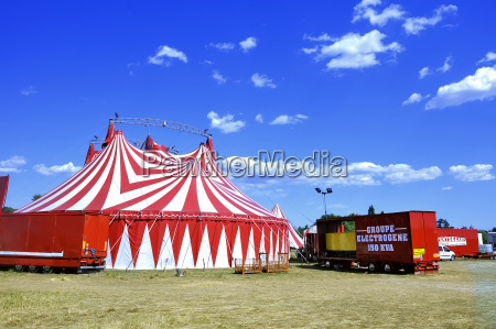 circus tent installed ready for representation