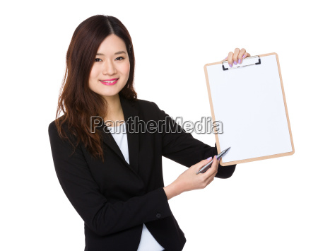 asian businesswoman with pen point to