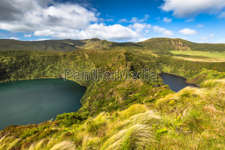 azores landscape with lakes in flores