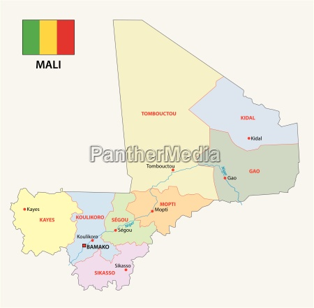 mali administrative map with flag