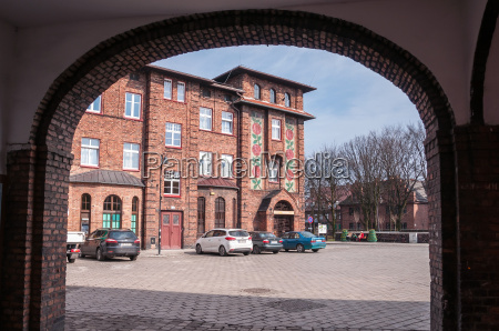 decorated post office building in nikiszowiec