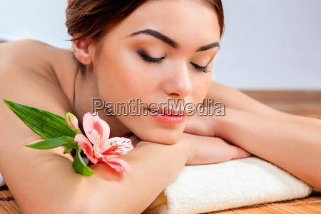beautiful young woman at a spa