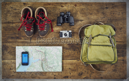 flatlay top hiking retro smartphone