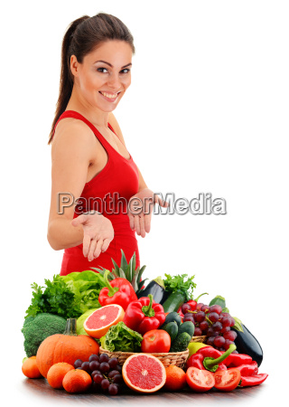 young woman with variety of organic