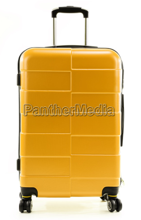 large red travel suitcase isolated on