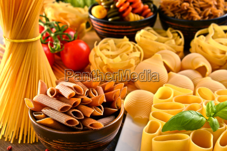 composition with variety of pasta on