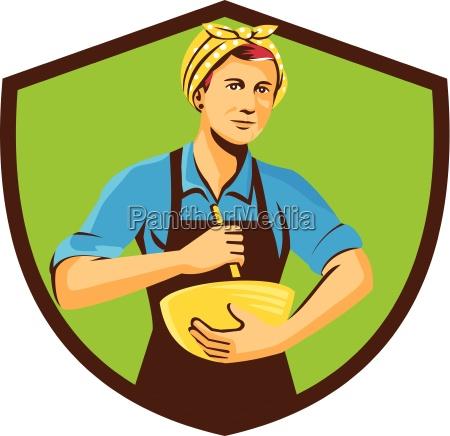female chef bandana mixing bowl crest