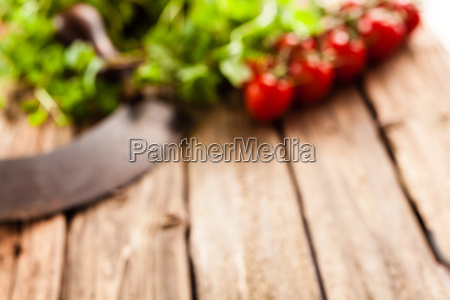 blurred food background with salad ingredients
